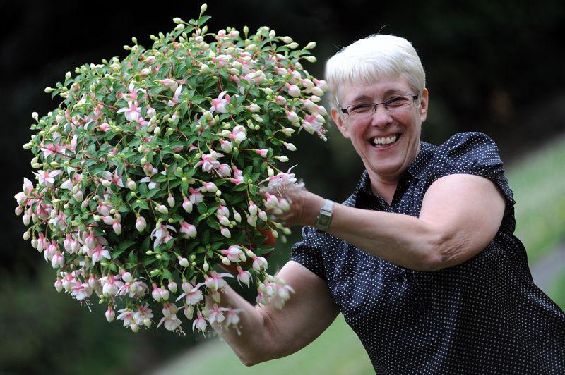 Last years winner Chris Bright with her favourite fuchsias