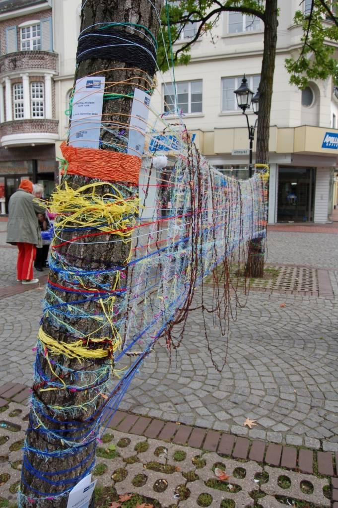 Knitted Graffiti by the Longview Knitwits on a Magical Mystery Tour in Germany