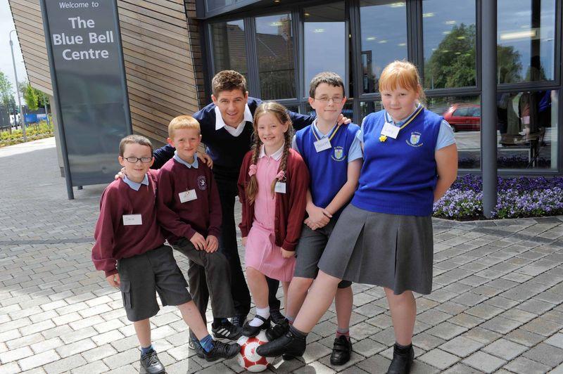 Steven Gerrard with children from St Columbus' Catholic Primary School & St Aidens Catholic Primary School