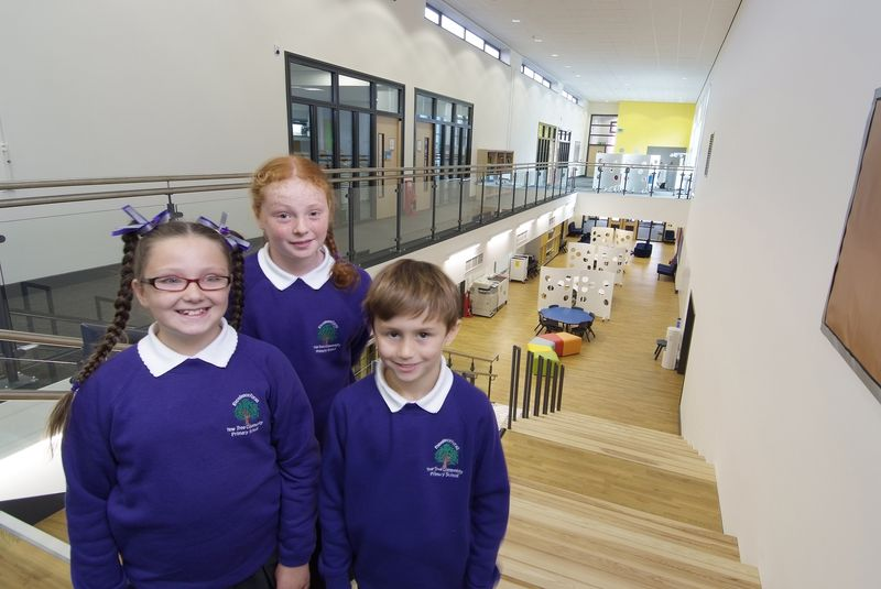 Pupils in the new Yew Tree Community Primary School in Halewood