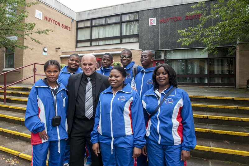 Terry Powell with Namibian Paralympians